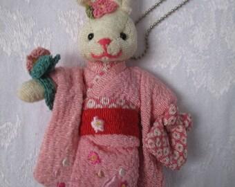 Usagi Nuigurumi Stuffed Rabbit in Kimono and Slippers Keychain Mascot Collectible
