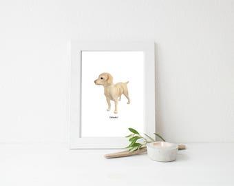 Labrador Retriever Dog Art PRINT l Lab Dog Wall Art l Custom Color Choice l Watercolor l Gender Neutral Nursery Decor l Yellow Blue Pink