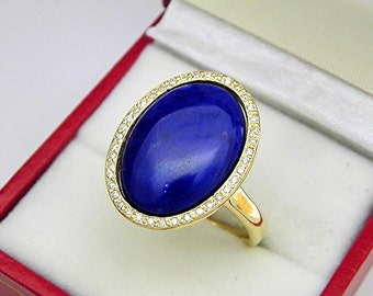 AAAA Lapis Lazuli 18 x 13mm  7.14 Carats   14K Yellow gold Diamond halo cabochon ring. 1502a