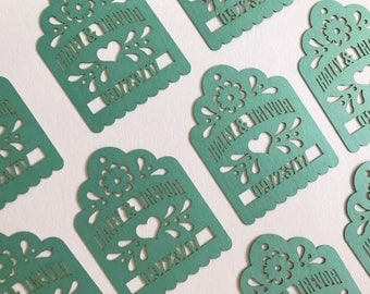 Wedding tags PERSONALIZED with names date Laser Cut Tags for Party Favor tags fiesta wedding thank you gift tag  maraca tags mexican fiesta