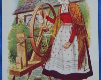 Art Woman Spinning Wheel Welsh Costume Made Kent England Standard Postcard