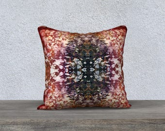 Boho Red Purple Throw Pillow Cover, Hippie Inspired Batik Style Pattern Graphic Symmetrical Throw Cushion Cover, Warm Colour Home Decor