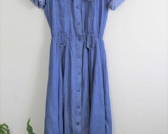 90's denim dress // soft midi chambray dress // medium