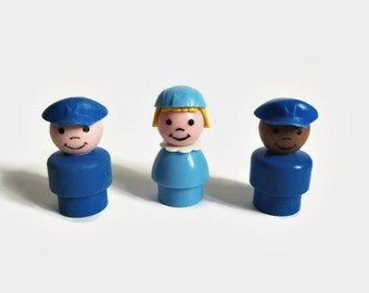 Lot of Three Vintage Fisher Price Little People Mailman/Mailmen/Stewardess/Pilots/Police Officers