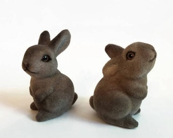 Flocked Fuzzy Rabbits (possibly Josef Originals)