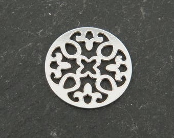 Sterling Silver Round Mandala Connector 13mm (CG9557)