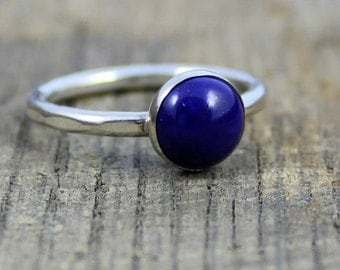 READY TO SHIP - Sterling Lapis Stacker Ring - Size 7.5
