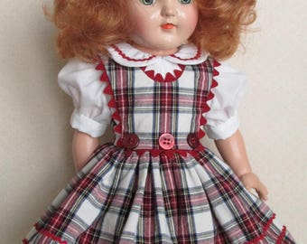 "For 16"" Ideal P-91 Toni Doll - Three Button Jumper Dress Inspired by Original"