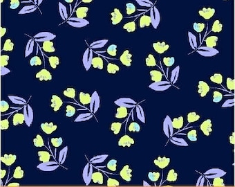 Flowers Navy Blue Painted Wings Windham Fabric 1 yard
