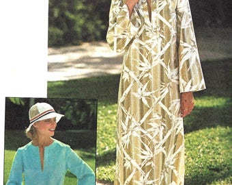 1970s Caftan Pattern Jiffy Simplicity Side Slit Top Vintage Sewing Women's Misses Size 12 Bust 34 Inches