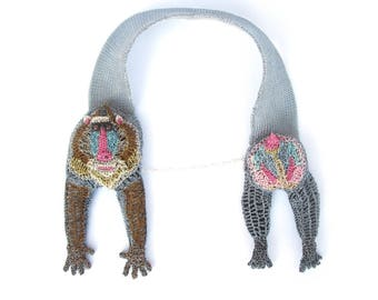 Mandrill Baboon necklace - monkey necklace, unusual statement jewelry, animal necklace