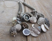 Chunky Silver Button Charm Necklace - Long Length - Optional Matching Bracelet - OOAK