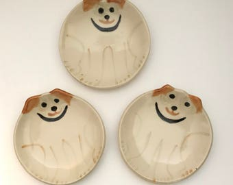 "Ceramic dog: round plate  5"" HM Pottery whimsical canine collector theme design pet resort  pet lover dog person gift"