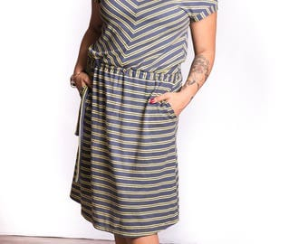 Fossil Dress, comfortable hemp and organic cotton dress with pockets