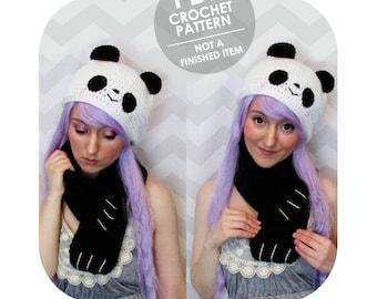 crochet pattern - panda hat & scarf set - panda hugs - kawaii cute panda - adorable animal hat scarf