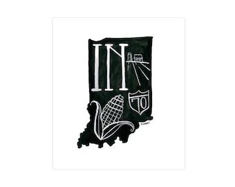 Indiana State Print // 1canoe2 // Modern Art Print