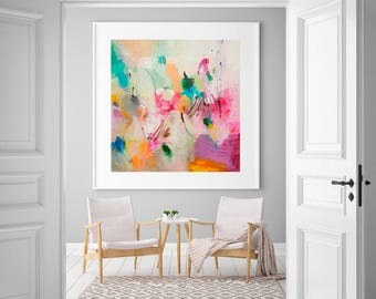 Abstract painting giclee print, purple orange colorful art print, abstract wall art giclee print, large abstract print