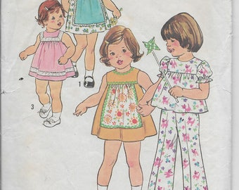 Vintage Simplicity 7409 Toddler Girls Dress or Top, Long Pants, Pinafore Front Size 2, Breast 21 Inches Girls Puff Sleeves or Sleeveless