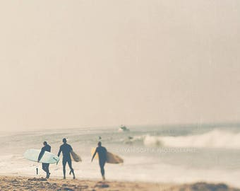 surfer photograph, surfers with surfboards, gray, neutral, earth tones, for him, boys room decor, beach California ocean, yellow gold, dorm