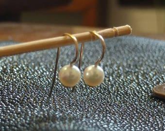 Pearl Earrings, 14 kt Gold, AKOYA Saltwater Pearls, Shepherd Hooks for Pierced Ears, Delicate, Lightweight