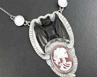 Bat Skull Cameo Necklace, sterling silver, michele grady, skull necklace, bat necklace, gothic, halloween, carved bone, cameo, moons stars