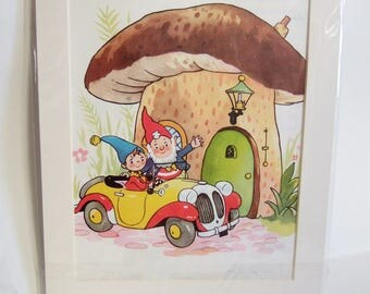 Noddy and Big Ears and a Mushroom House - Vintage Illustration Ready to frame