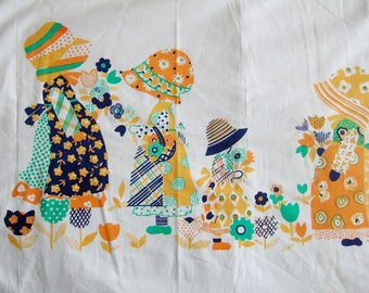 1970s Fabric Piece with Cute Girls and Flowers in a Holly Hobbie Style with Bonnets - Vintage Cotton Fabric