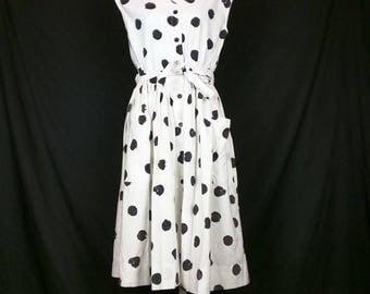 Vintage White Black Polka Dot Sleeveless Dress Belt Misses M L 80s Ruth Norman