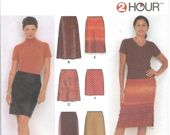 2000s Simplicity 9569 UNCUT Sewing Pattern Misses 2 Hour Skirts, Slim Pencil Skirt, Flared Skirt, Evening Skirt Size Waist 24-25-26.5-28