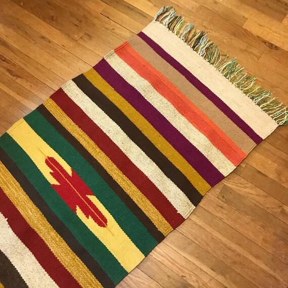 woven wool Southwestern rug - handmade serape runner - multicolor stripes - boho floor table or wall decor