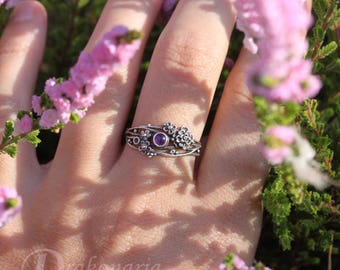 Twig ring - amethyst, sculpted flowers and twigs, limited collection