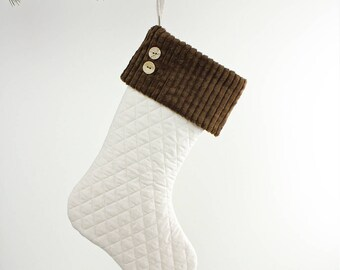 Quilted Christmas Stocking with Corduroy Cuff and Button Detailing - White and Brown Christmas Decoration - Modern Farmhouse/Wanderluster