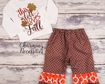 NEW Fall Thanksgiving Outfit, Baby Toddler Girl Clothes, Top Ruffle Pants Set, This Doll Loves Fall, Charming Necessities
