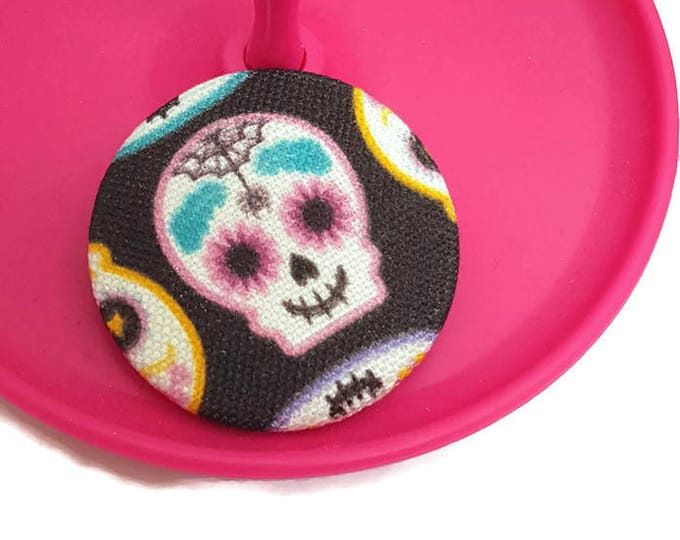 Featured listing image: Skeleton Pin-Skull Brooch-Jacket Lapel Pin-Bag Flair-Cute Badge-38mm-Pinback Button-Halloween-Day of the Dead-Calavera-Rainbow Goth-Bubble