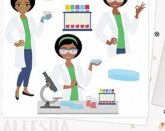 Lab technician woman character clipart, medical laboratory, nurse healthcare, blood test, blonde, brunette and auburn hair (Ariel L287)