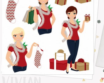 Christmas woman character clipart, holiday girl, presents, stocking, shopping clip art, blonde, brunette and auburn hair (Vivian L331)