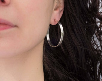 Sterling silver hoop earrings/40mm/ Hand made solid silver hoops/ Wide wavy texture/ Simple hoops, classic gift for her/ EHWSH-40/ Saint Don