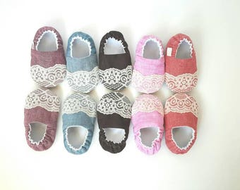 Chambray & Lace, Baby Moccs/ Baby Shoes/ Baby Moccasins/ Vegan Moccs /Vegan Moccasins / Soft Soled Shoes / Vegan Baby Shoes / Lace Moccs