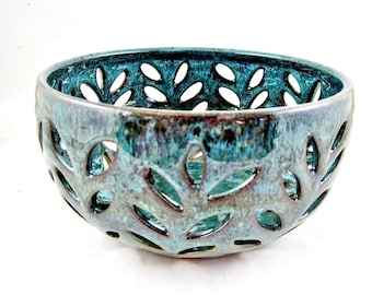 Pottery fruit bowl, Modern ceramics fruit bowl, lace bowl- In stock
