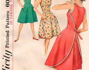 Vintage 1964 UNCUT Simplicity Pattern 5449 - Misses One-Piece Wraparound Dress - Size 12 - Bust 32
