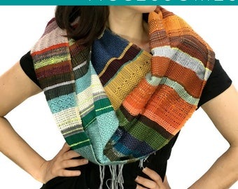 Darcy | Heirloom Woven Earth Toned Scarf | Handwoven Autumn Striped Scarf | Woven Fall Fashion |  Hand Spun & Hand Dyed Woven Scarf | H91