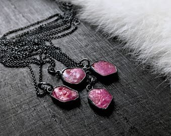 Raw Ruby necklace   natural ruby necklace   Rough ruby stone necklace   Rough ruby crystal pendant   Ruby birthstone necklace