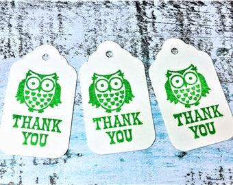 Thank you tags,  owl gift tags, Wedding favor tags, Bridal favor tags, Shower favor tag, Personalized Tag, Set of 10 tags, Favor tag set