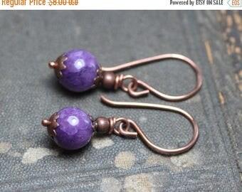SALE Purple Stone Bead Earrings Magenta Quartz Gemstone Antiqued Copper Earrings