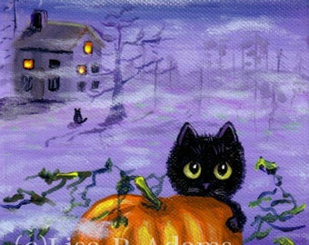 Halloween Black Cat ACEO Art Card Print Giclee Creationarts