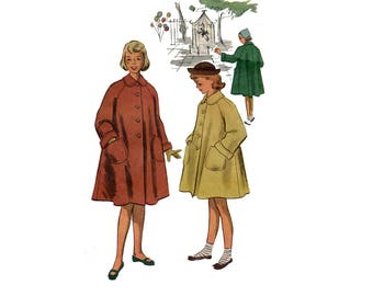 1950s Girls Coat Pattern Tent Coat Round Collar Front Button Raglan Sleeves Winter Swing Coat McCalls 8676 Size 8 Vintage Sewing Pattern