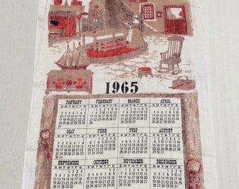 Vintage 1965 Calendar Towel Colonial America at the Hearth Lady Pilgrim Thanksgiving