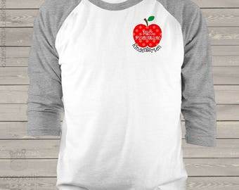 Teacher apple shirt personalized unisex raglan shirt for teachers  mscl-058-r