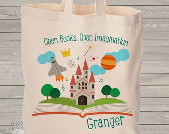 Imagination library book personalized tote bag - choose value or heavyweight tote MBAG1-054