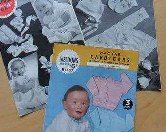 Vintage Baby knitting patterns - set of 3